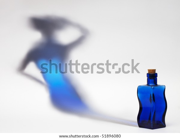 Blue Flask Shadow Form Slim Woman Stock Photo (Edit Now) 51896080