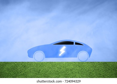 Blue flat car icon with electric symbol on blue background illustration.