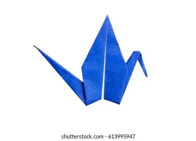 Blue flat origami crane bird isolated on white background