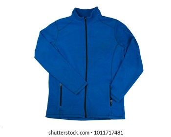 Blue fleece jacket. Isolate on white background