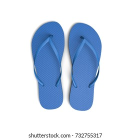 Blue flip flop sandals on a white background. 3D Rendering