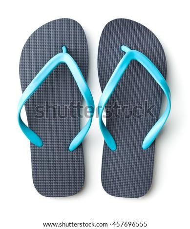 6dbe0cc8c60 Blue Flip Flops Isolated On White Stock Photo (Edit Now) 457696555 ...