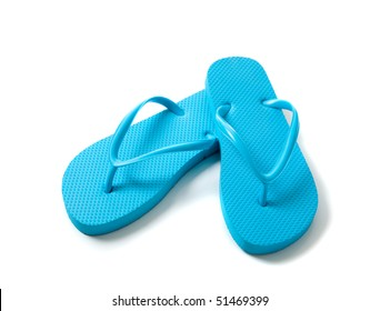 blue flip-flops on a white background