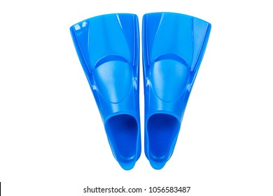 Blue flippers on white background