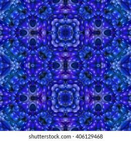 Blue floral kaleidoscopic seamless mirroring fractal pattern