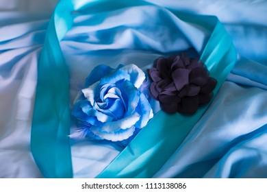 Blue flower decorations.