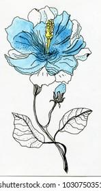 Blue flower.  flat design