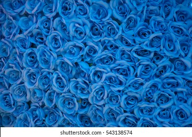 The blue flower. the blue flower made from plastic Fiber. Artificial flowers made from synthetic fabrics.