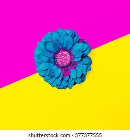 Blue Flowers on bright background. Minimalism Art Design