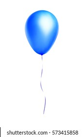 Blue flying balloon isolated on white background