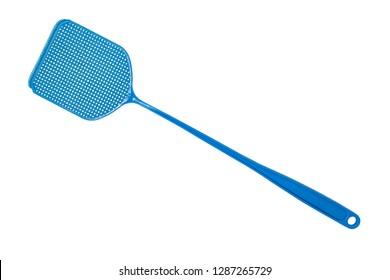 Blue flyswatter isolated on white background. Home Fly swatter macro