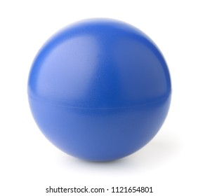 Blue foam stress ball isolated on white