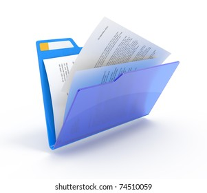 Blue folder with a documents izolated on white.