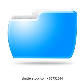 Blue folder icon isolated on white