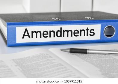 A blue folder with the label Amendments