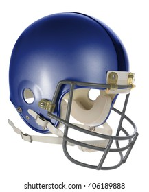 Blue football helmet with clipping path isolated over white background