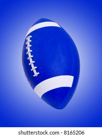 Blue football on a blue background with a white gradient set behind it.