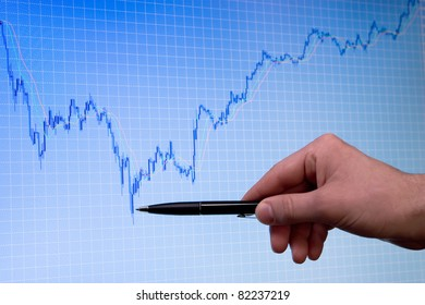 blue forex stock chart on computer monitor is growing, hand with pen is pointed on lower peak of graph