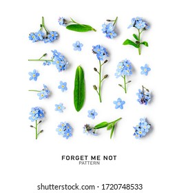 Blue forget me not flowers creative collection and pattern isolated on white background. Springtime and mothers day concept. Design elements, flat lay, top view