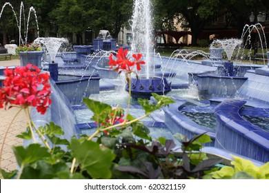 Blue Fountain in Subotica, Serbia