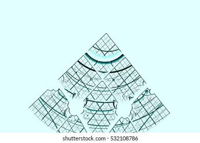 Blue fractal on light background 3d illustration