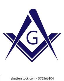 blue freemason symbol illustration isolated on white background