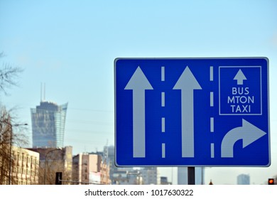 Blue freeway sign over the road