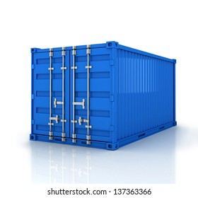 Blue freight container isolated on white