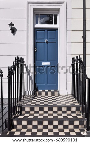 Blue Front Door Chequer Pattern Steps Stock Photo Edit Now