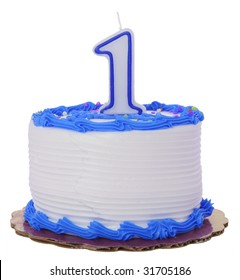 Blue Frosted 1st Year Birthday Cake on Isolated Background
