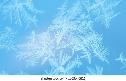 Blue frozen window texture or background.
