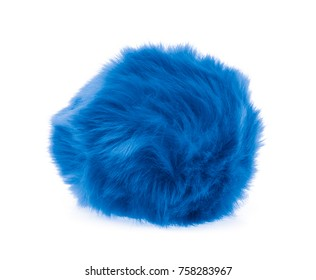 Blue Fur ball isolated on white background