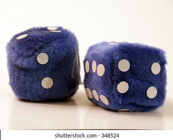 blue fuzzy dice