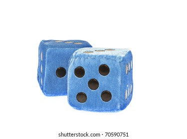 Blue fuzzy dice dice with blackdots,isolated,white