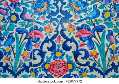 The blue gamma of floral pattern on wall of  Madraseh-ye Khan, the medieval landmark of Shiraz, Iran