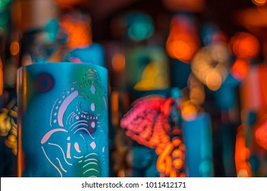 Blue Ganesh lamp.