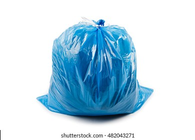 Blue garbage bag isolated on white background