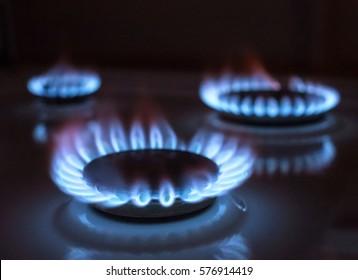 blue gas flame, selective focus