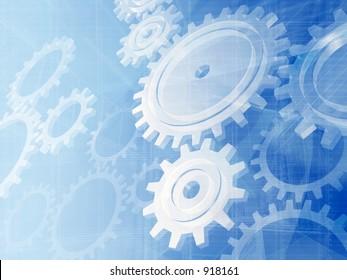 Blue gears engineering technology backdrop.