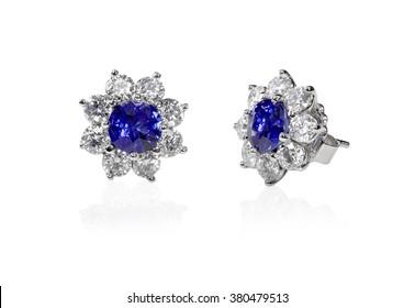 Blue Gemstone and diamond stud earrings. Genuine Fine Jewelry