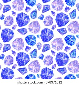 Blue gemstones abstract background. Hand drawn gems seamless pattern.