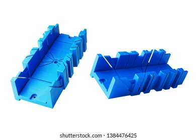 Blue General purpose plastic mitre box on white background. mitre box for guided cutting of mitre joints at the desired angle.