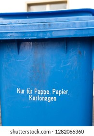 """Blue German Garbage Can for Paper Waste, Text saying """"Only for cardboard, paper and paperboard"""""""