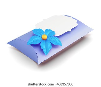 Blue gift box handmade isolated on white background. 3d rendering.