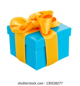 blue  gift box with yellow ribbon isolated om white background