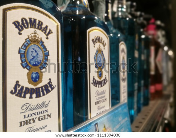 Blue Gin Bottles Bombay Sapphire for Gin & Tonic Drink. Milan,Italy-June 2018