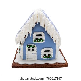 Blue gingerbread house, Christmas. Handmade. Isolated on white.