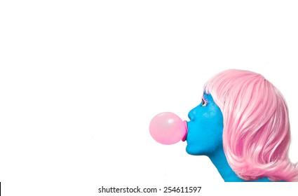 Blue GIrl with Pink Hair Blowing Bubble