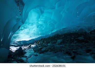 blue glacier ice cave near Juneau, Alaska