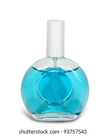 blue glass bottle of female perfume isolated on a white background